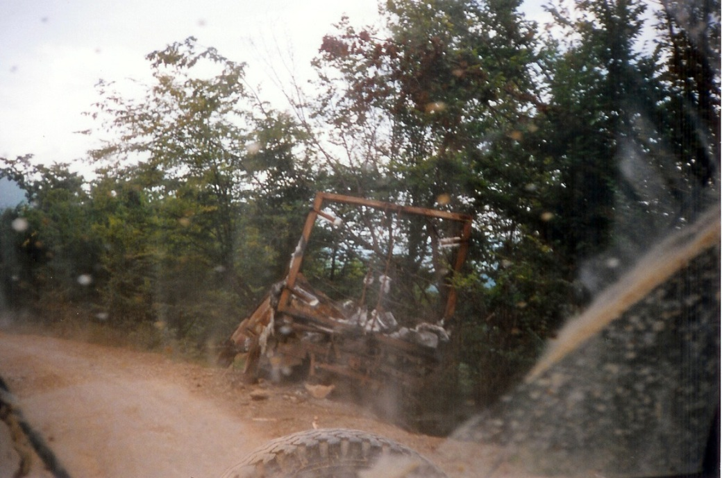 Destroyed vehice on Igman Run